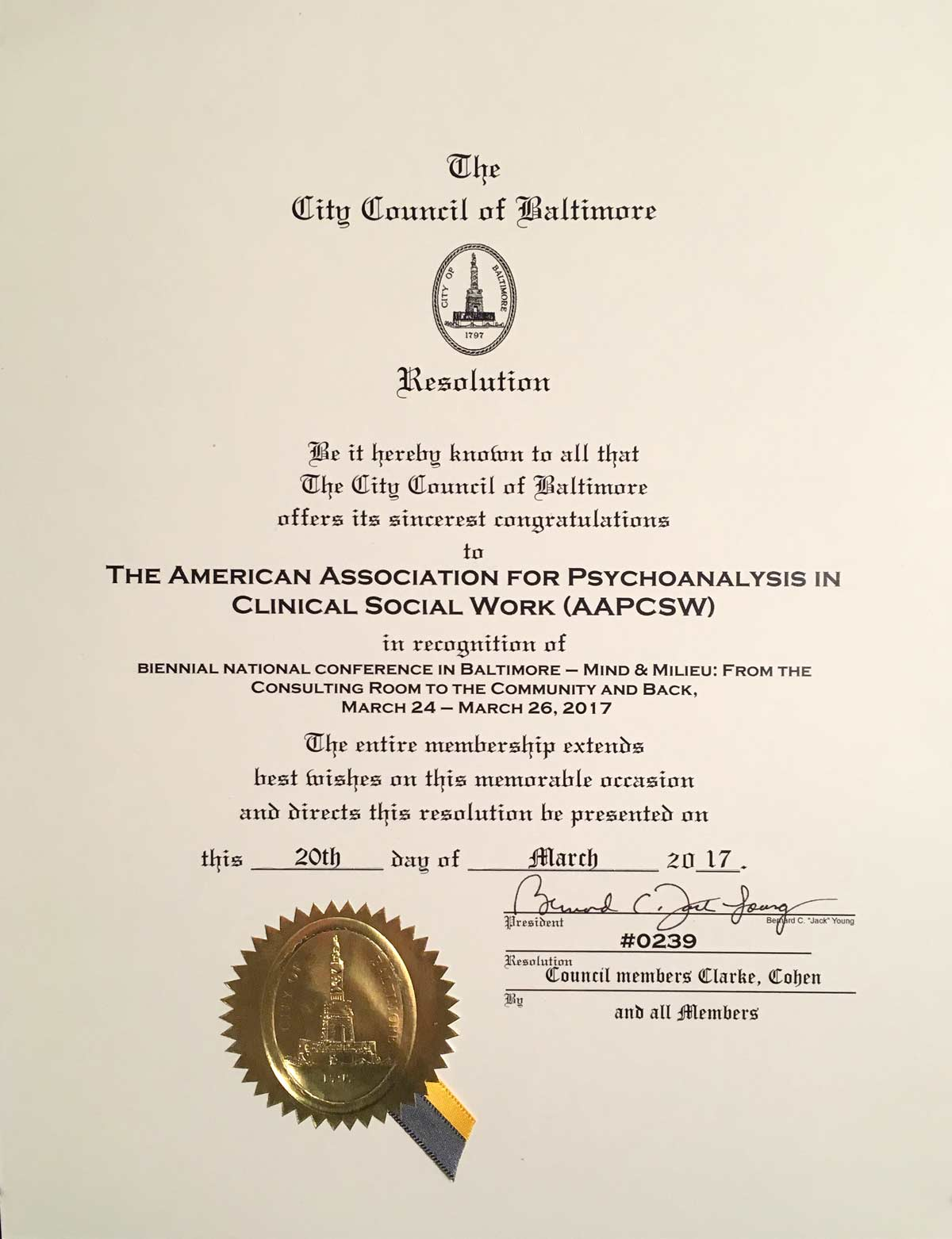 Photo of Baltimore City Council award to AAPCSW